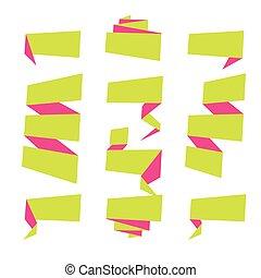 etiqueta, ilustração, vetorial, bandeira fita, dobrado, set., cobrança, templates.