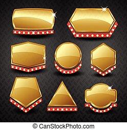 etiqueta, jogo, eps10, bandeira, dourado, vetorial, em branco, vindima, quadro