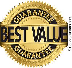 etiqueta, melhor, garantia, dourado, valor