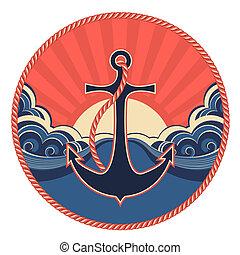 etiqueta, náutico, âncora, mar, ondas