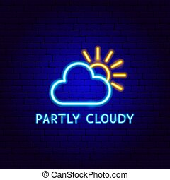 etiqueta, neón, en parte nublado