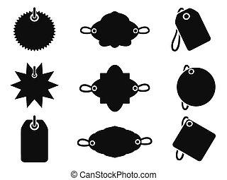 etiqueta, negro, iconos