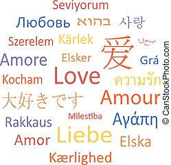 etiqueta, nube, o, discurso, bubble:, love.