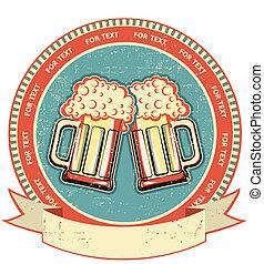 etiqueta, papel, antigas, texture., cerveja, vindima