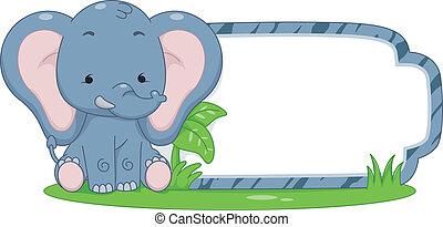etiqueta, safari, elefante