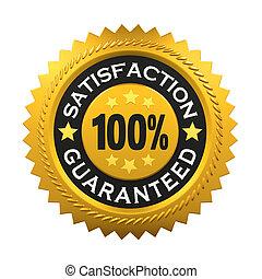 etiqueta, satisfacción, guaranteed