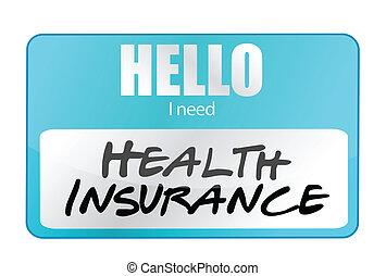 etiqueta, seguro médico, nombre