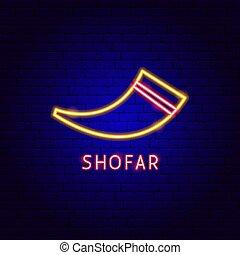 etiqueta, shofar, neón