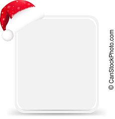 etiqueta, sombrero, santa, regalo, blanco