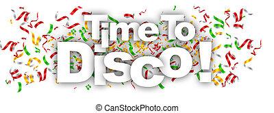etiqueta, tiempo, disco