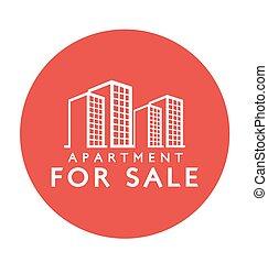 etiqueta, venda, apartamento, desenho, :