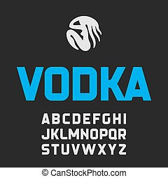 etiqueta, vodka, fuente, moderno, estilo