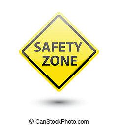 etiqueta, zona segurança, sinal amarelo