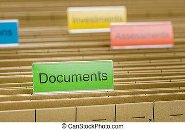 etiquetado, documentos, pasta, arquivo, penduradas