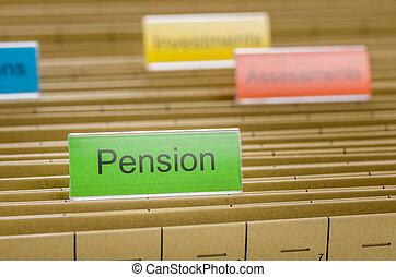 etiquetado, pasta, pensão, arquivo, penduradas
