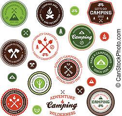 etiquetas, acampamento