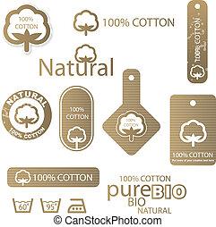 etiquetas, algodão