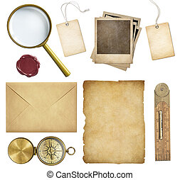 etiquetas, antigas, papel, preço, cera, polaroid, isolado, selo, bordas, compasso, correio