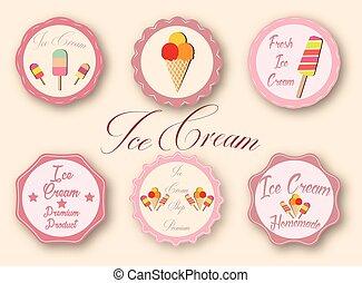 etiquetas, cobrança, sorvete