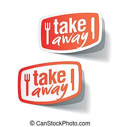 etiquetas, comida para llevar