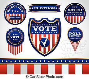 Etiquetas, Conjunto, elección, insignias, votación
