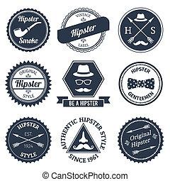etiquetas, conjunto, hipster