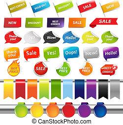 etiquetas, conjunto, pegatinas, venta