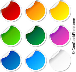 etiquetas, conjunto, redondo, colorido