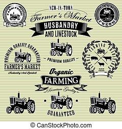 etiquetas, conjunto, tractor, ganado, cosecha