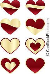 etiquetas, corações, jogo, vermelho, ouro