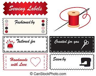 etiquetas, cosendo