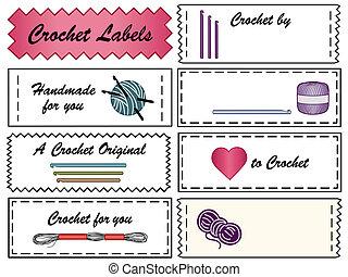 etiquetas, cosendo, crochet