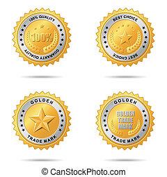etiquetas, dourado, jogo, melhor, escolha