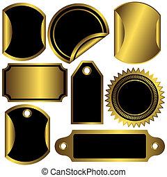 etiquetas, dourado, jogo, pretas, (vector)