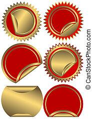 etiquetas, dourado, jogo, vermelho, (vector)