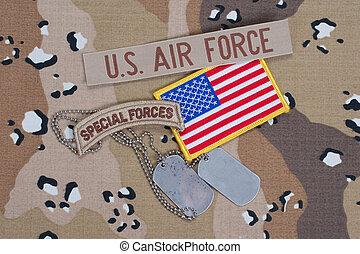 etiquetas, exército, cão, nós, uniforme, guarda-florestal, camuflagem, aba, em branco