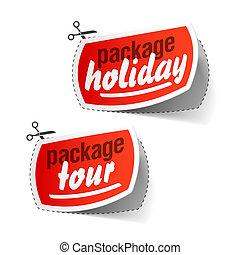 etiquetas, excursão, feriado, pacote