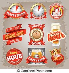 etiquetas, hora, feliz