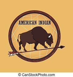 etiquetas, indio americano, emblemas
