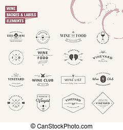 etiquetas, jogo, elementos, vinho