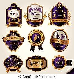 etiquetas, jogo, luxo, vinho