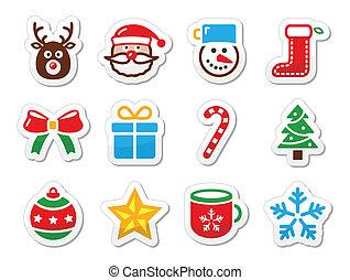 etiquetas, jogo, natal, ícones