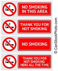etiquetas, jogo, nenhum fumar, adesivos