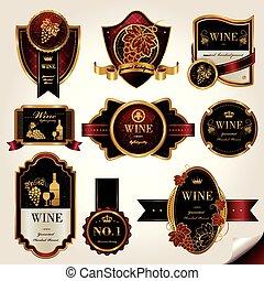 etiquetas, jogo, prêmio, vinho