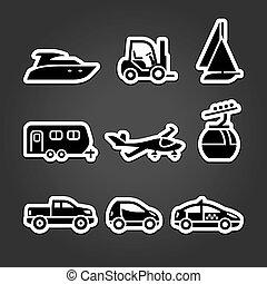 etiquetas, jogo, transporte, ícones