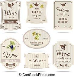 etiquetas, jogo, vinho