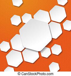 etiquetas, listras, papel, fundo, laranja, branca, hexágono