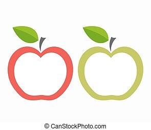 etiquetas, maçã