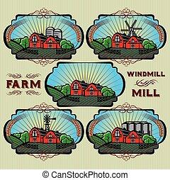 etiquetas, moinho, jogo, fazenda, vetorial