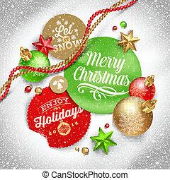 etiquetas, navidad, saludo
